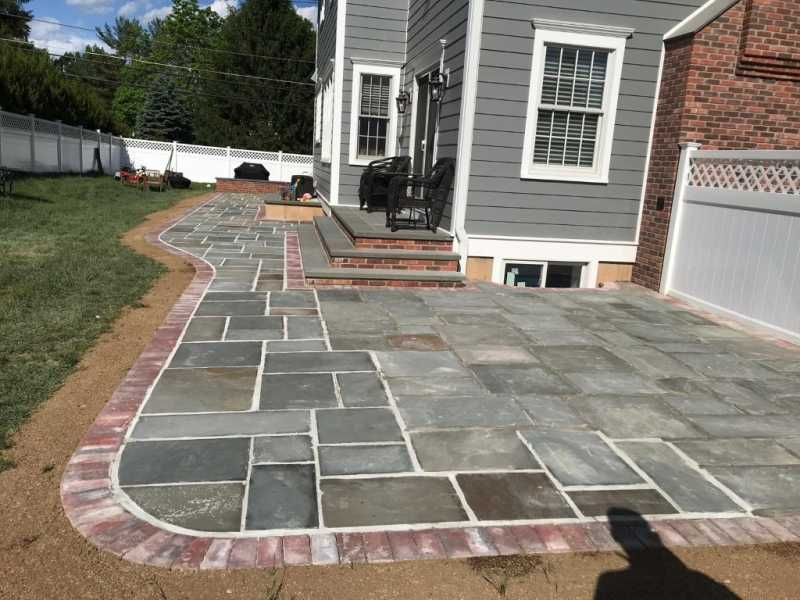 Bluestone Patio with Porch Brick Wall in Morristown, New Jersey
