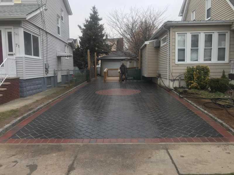 Interlock Paved Driveway with Matching Sidewalk in North Arlington, New Jersey