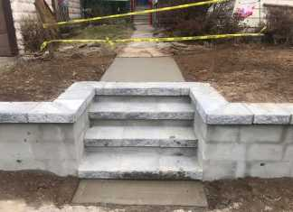 New Stoops and Cinder Block Wall in North Arlington, New Jersey